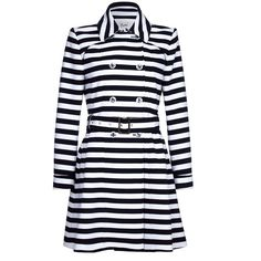 Yumi Stripe Trench Coat ($115) ❤ liked on Polyvore featuring outerwear, coats, women coats & jackets, striped trench coat, striped coats, double-breasted trench coats, trench coat and double breasted coat