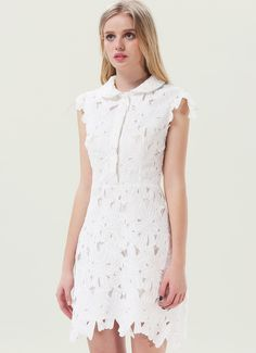 White Sleeveless Embroidered Bodycon Skater Dress US$23.99