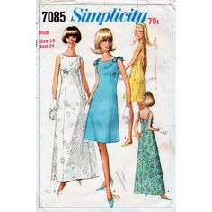 simplicity+evening+dress+pattern+1970s | 1960s Evening Dress Pattern Simplicity 7085 Vintage Sewing Pattern ...