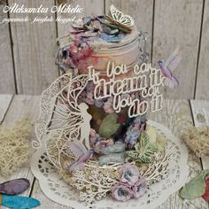 """Mixed media """"Fairy wings jar"""" with 13 arts, Wild orchid crafts and Scrapiniec"""