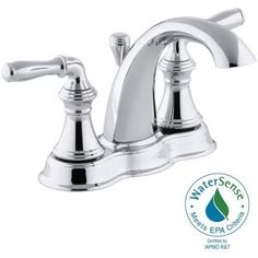 KOHLER Devonshire 4 in. Centerset 2-Handle Mid-Arc Bathroom Faucet in Polished Chrome-K-393-N4-CP - The Home Depot