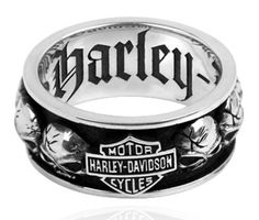 HARLEY DAVIDSON STERLING SILVER MEN'S Spinning Skull RING (12)
