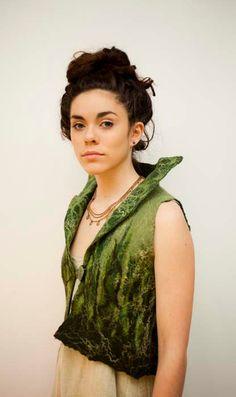 sage green handmade nuno felt soft merino wool natural by elfnfelt, $150.00