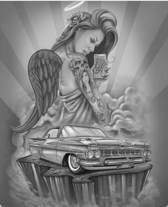 This design was done by Freddy Alfaro in Adobe Photoshop airbrush style . Tattoo Chicana, Chicano Art Tattoos, Chicano Drawings, Body Art Tattoos, Badass Drawings, Car Drawings, Tattoo Drawings, Arte Lowrider, Aztecas Art