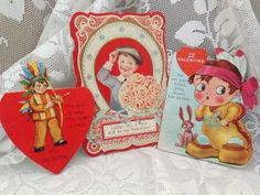 Three Vintage 1920s Valentine Cards by SylviasFinds on Etsy, $5.00