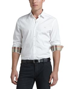 Cambridge+Check-Detail+Sport+Shirt,+White+by+Burberry+Brit+at+Neiman+Marcus.