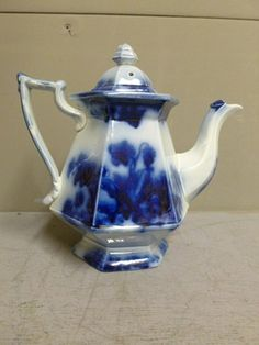 Antique Flow Blue Teapot 6 Sided 9 inches Tall English Ironstone Circa 1860   eBay