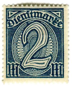 "German Empire, 2 marks, issued in September 1920 : : common governmental issue ""for official use only."""