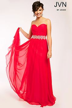 Strapless Chiffon Ruched Gown JVN22470