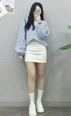 Look at this Stylish korean summer fashion - En Tutorial and Ideas Korean Summer, Korean Fashion Summer, Korean Girl Fashion, Korean Fashion Trends, Korean Street Fashion, Ulzzang Fashion, Korea Fashion, Kpop Fashion, Asian Fashion