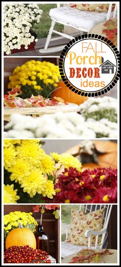 Fall  Decorating Ideas. Like the picture where there is a crate and then mums/pumpkins on top.
