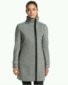 NWT CALVIN KLEIN WOMEN'S FAUX LEATHER TRIM COAT GREY SIZE 16 MSRP $305.00 #CalvinKlein #BasicCoat