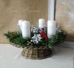 """Новый год 2016 ручной работы. Ярмарка Мастеров - ручная работа. Купить Новогодняя(рождественская)плетеная подставка под свечи """"Уютный дом """". Handmade."""