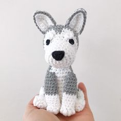HUSKY crochet amigurumi with collar Crochet husky amigurumi Crochet Bunny, Crochet Animals, Crochet Dolls, Wolf Stuffed Animal, Cotton Anniversary Gifts, Husky Puppy, Crochet Projects, Handmade, Etsy