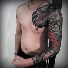 Mens Full Sleeves Cool Black Red Dragon Tattoo