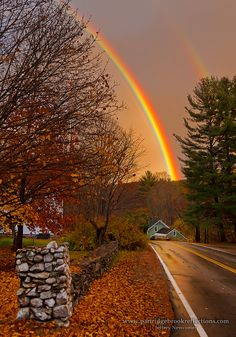 This photograph shows a beautiful double rainbow over Spofford, New Hampshire.