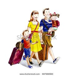 Happy cartoon family going on vacation. Watercolor illustration.Hand drawn.