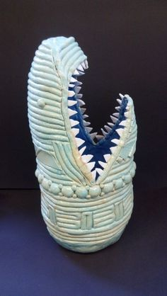 Crazy Coil Shark with Broken Porcelain dish teeth. by G. Nolette