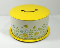1950s Bellonoff cake carrier cake tin yellow and blue flowers oh HAPPY DAY cake carier