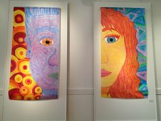Color Theory: Warm/Cool Oil Pastel on the bulletin paper..7'x3' Created by HS student