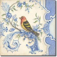 Chinoiserie Aviary I Canvas Art - Kate McRostie x Vintage Birds, Vintage Paper, Vintage Prints, My Canvas, Canvas Frame, Chinoiserie, Decoupage Paper, China Painting, Bird Art