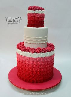 red ombre wedding cake