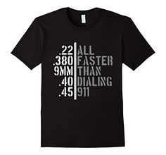 Men's All Faster Than Dialing 911 Shirt Gun Lover Cop Gift 2nd 2XL Black