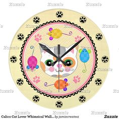Calico Cat Lover Whimsical Wall Clock