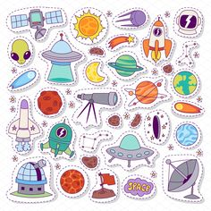 Illustration of Solar system astronomy icons stickers set. Cute cartoon planets and sun stickers for kids. Astronomy education set of stickers. vector art, clipart and stock vectors.
