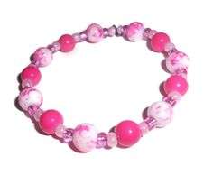 Pink and White Stretch Bracelet from WickdCreation for $10.00