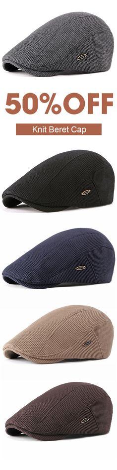341b00c8 Men Visor Knit Newsboy Beret Caps Outdoor Casual Winter Cabbie Ivy Flat Hat