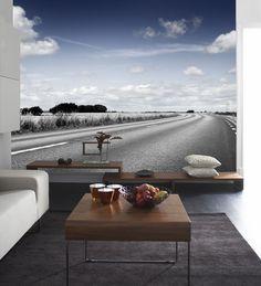 Tapeten Dream road med dess djup får rummet att kännas mycket större. Mr Perswall