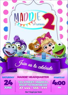 Kids Birthday Party Invitations, Baby Invitations, Boy Birthday Parties, Baby Birthday, Birthday Party Decorations, Muppet Babies, Disney Junior, Baby Party, Etsy