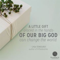 """A little gift placed in the hands of a big God can change the world. ~ Lysa TerKeurst, author of #TheBestYes //It's so easy to miss """"us"""" in the middle of """"rush."""" CLICK for more on making sure we make time for meaningful connections with others."""