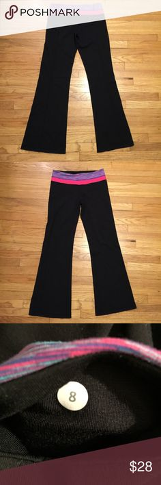 Lululemon blk/pink reversible workout pants - 8 Lululemon blk/pink reversible workout pants - 8. Waist - 14.5 inches. Rise - 9.5 inches. Inseam - 30 inches. Minor pilling. lululemon athletica Pants