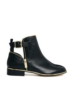 River Island | River Island Pio Black Zip Detailed Ankle Boot