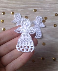 Christmas angels set of 3 Christmas tree decorations Angels applique -Crochet Christmas angels set of 3 Christmas tree decorations Angels applique - Zawieszki na choinkę . Crochet Christmas or Easter Angel Ornament Set of Two or Four Crochet Christmas Decorations, Christmas Crochet Patterns, Crochet Decoration, Crochet Ornaments, Holiday Crochet, Crochet Snowflakes, Crochet Crafts, Yarn Crafts, Crochet Projects