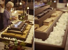 S'mores bar at a wedding reception is so fun and will bring out the inner child in you! #s'mores #wedding #events #reception