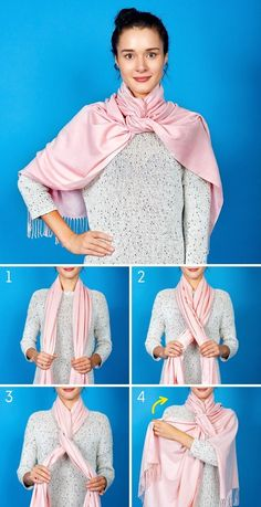 How to wear pashminas hijab tie a scarf 38 best Ideas Ways To Tie Scarves, Ways To Wear A Scarf, How To Wear Scarves, Scarf Knots, Mode Simple, Fashion Outfits, Womens Fashion, Fashion Tips, European Fashion