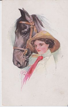 VINTAGE SOPHISTICATED WOMAN AND HORSE ARTIST SIGNED COURT BARBER POSTCARD