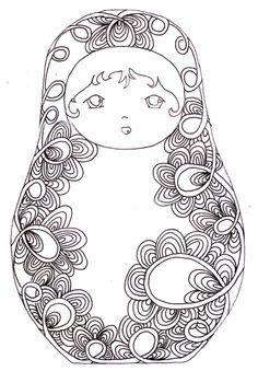Le lapin dans la lune - Non dairy Diary - Matrioshka Paper Dolls Coloring Book Pages, Printable Coloring Pages, Coloring Sheets, Matryoshka Doll, Kokeshi Dolls, Digi Stamps, Free Coloring, Kids Colouring, Doodle Art