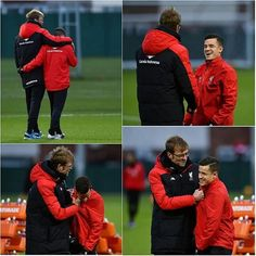 Nice photos these...@phil.coutinho with Jurgen Klopp in training at Melwood