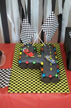 M Racecar Party- the number 4 racetrack cake