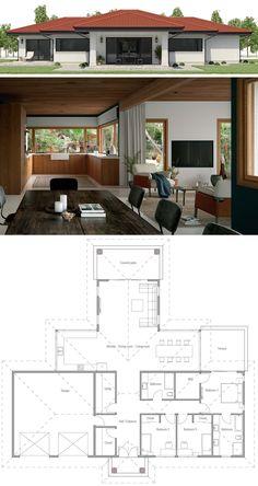 15 Ideas house plans modern single story dream homes for 2019 Free House Plans, Modern House Plans, Small House Plans, Bungalow House Design, Small House Design, Modern House Design, Home Design Floor Plans, House Floor Plans, House Plans South Africa