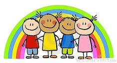 Childlike Drawing Rainbow Kids Stock Illustration - Illustration of friendship, african: 5894546 Easy Drawings For Kids, Drawing For Kids, Children Holding Hands, Friends Clipart, Kindergarten Art Projects, Drawing Clipart, Friends Day, Cute Clipart, Kids Logo
