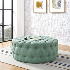 Inspire your decor with the Love Round Ottoman. Fashionably chic with a refreshing look, Love features a luxuriously tufted round design with dense foam padding Round Tufted Ottoman, Swivel Barrel Chair, Fabric Ottoman, Cocktail Ottoman, Inexpensive Furniture, Mid Century Design, Love Seat, Upholstery, Interior Design