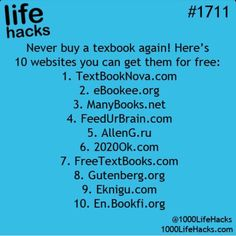 10 Websites For Free Textbooks - Never Buy A Textbook Again! life hacks for school life hacks 10 Websites For Free Textbooks - Never Buy A Textbook Again! life hacks for school life hacks for men Simple Life Hacks, Useful Life Hacks, Life Hacks Websites, Best Life Hacks, Disney Life Hacks, Awesome Life Hacks, Movie Websites, Hack My Life, Cool Websites