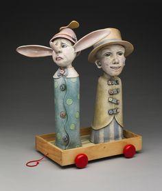 """Pinocchio & Humanchine"" by Diana Farfán. Ceramics & mixed media. www.dianafarfan.com"