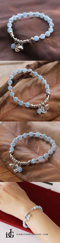 Sterling Silver Aquamarine Beaded Bracelet Handmade Jewelry for Women