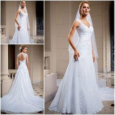 Discount Hot Sale Classic Lace Pnina Tornai Wedding Dresses Chapel Train vestido de noiva de renda V Neck Bridal Gowns Keyhole B